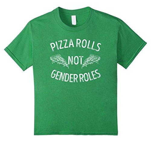 pizza-rolls-not-gender-roles-t-shirt-pizza-t-shirt-kinder-grosse-140-grun