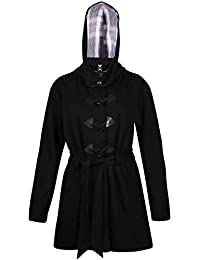 Womens Long Sleeves Ladies Stretch Toggle Belts Pockets Zip Hooded Winter Fleece Jacket Coat Plus Size