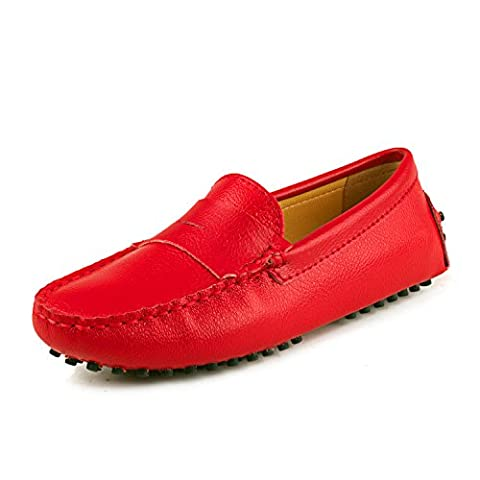 Shenduo Women's Loafers Patent Leather Moccasins Boat & Driving Shoes D7052 Red 5UK 38