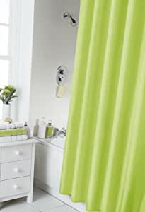 VIBRANT LIME GREEN SHOWER CURTAIN 180CM X 180CM INCLUDES RINGS