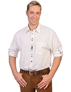 H1317 weiß - Trachten Hemd mit Krempelarmfunktion