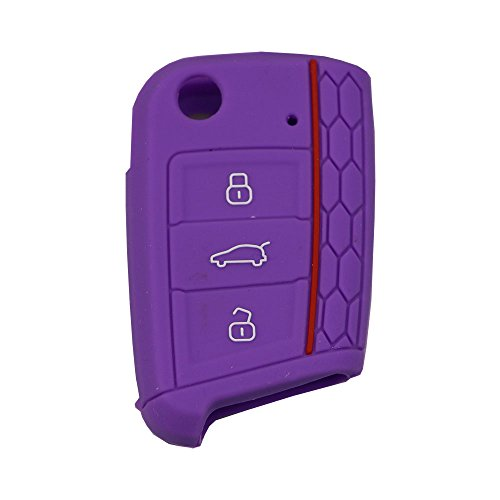 Bermud Autoschlüssel Silikon Schutzhülle Tasche Gehäuse Schlüsselhülle Schutz Etui Cover mit 3 Tasten Fernbedingung Klappschlüssel für Volkswagen VW Golf 7 Mk7 Skoda Octavia 3 A7