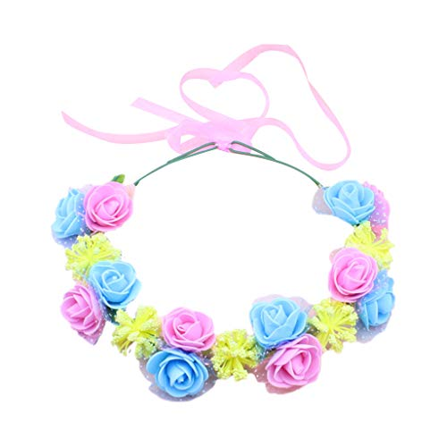 chenpaif Adult Kids Contrast Candy Colored Wreath Headband Artificial Rose Baby Breath Flower Crown Ribbon Mesh Travel Headpiece Pink+Blue Blue Ribbon Candy