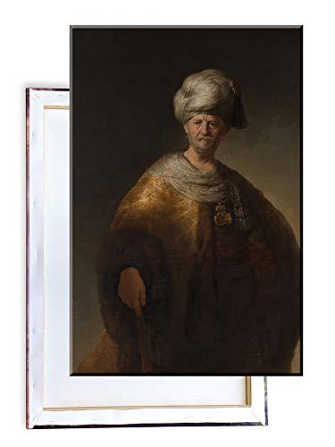 Unified Distribution Rembrandt - Der Edelslaw (Mann in orientalischem Kostüm) - Klassisches Gemälde - Replik auf Leinwand 100x70 cm (Kostüm Da Vinci)