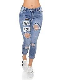 Sexy Jeans Used Look mit Flicken und Nieten