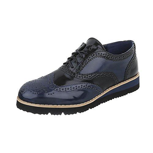 Ital-Design Schnürer Damen-Schuhe Oxford Schnürer Schnürsenkel Halbschuhe Dunkelblau, Gr 38, Ll101-