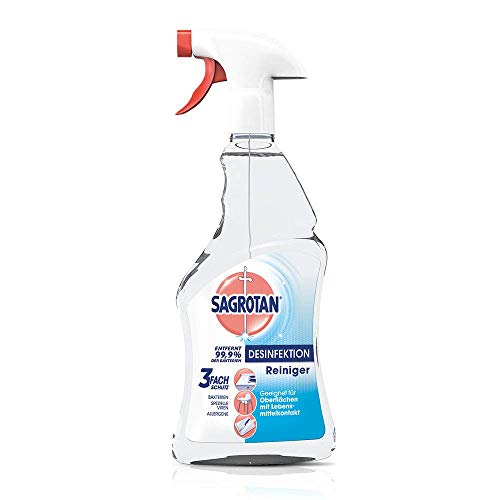 Sagrotan Desinfektions-Reiniger - Desinfektionsmittel für die tägliche, sanfte Reinigung - 3 x 500 ml Sprühflasche mit neuem Sprühkopf im Vorteilspack