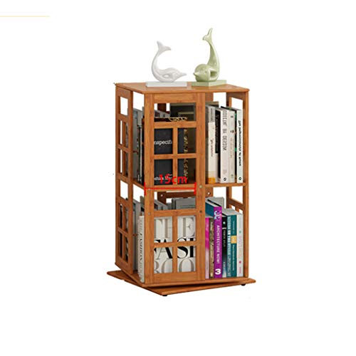 2-tier-bücherregal (QHD Drehbare Bücherregal Bambus Bücherregal Nachttisch Bücherregal Abstand Einstellbare Commodity Regal, 2 Tiers / 3 Tiers Optional Bücherregal (größe : 36 x 36 x 67cm))