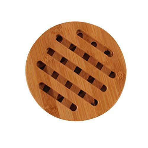 Floridivy Anti-Rutsch-Bambus Coaster Hitzebeständige Round Square Cup Kissentisch Schutzmatte Topflappen 1 -