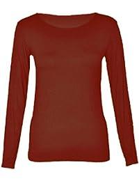 Baleza Women Ladies Long Sleeve Plain Round Scoop Neck Top SZ 8-14