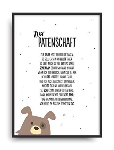 Geschenk Karte PATENSCHAFT Kunstdruck Taufe Patenkind Taufpaten Bild ohne Rahmen DIN A4 (Taufe Karten)