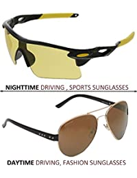 Vast Combo Of 2 For All Day And Night Vision Biking, Driving And Sports Unisex Sunglasses (BLKYELLOW,GLD)