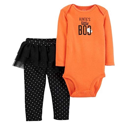 Cater's Boo Baby Girl Halloween Boo Outfit Body + Leggings mit Tutu Rock Orange Schwarz Set (62)