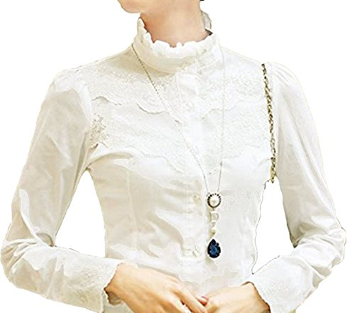 Blusa para mujer Nonbrand, de mangas largas, de invierno, diseño con encaje, estilo victoriano y vintage, para la oficina  Blanco blanco 48