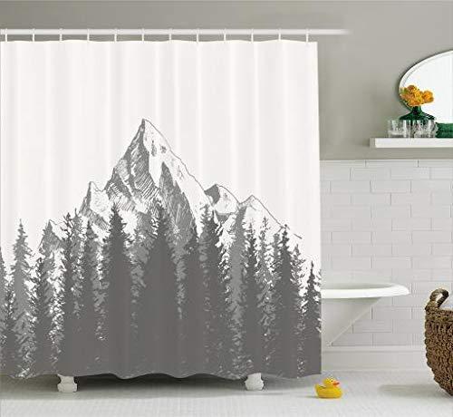JIEKEIO Primitive Decor Shower Curtain, Mountain with Fir Forest and Native American Arrow Figure Folk Style Retro Print, Fabric Bathroom Decor Set with Hooks, 60 * 72inchs Long, Dimgrey