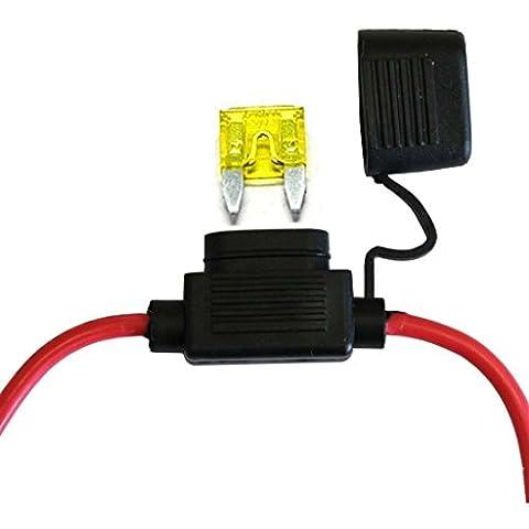 12V 24V 20A pour Camion Voiture petit,Support Porte Fusible Lame Enfichable Etanche avec Fil Cable