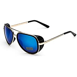 """(M1 Golden Frame Blau Lens) Sonnenbrille Modell Steampunk Iron Man Tony Stark Retro Herren Damen Unisex"""","""