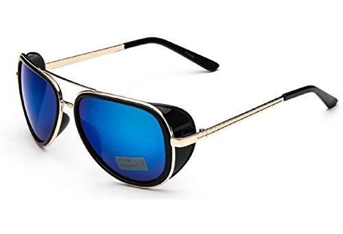 (M1 Golden Frame Blau Lens) Sonnenbrille Modell Steampunk Iron Man Tony Stark Retro Herren Damen Unisex
