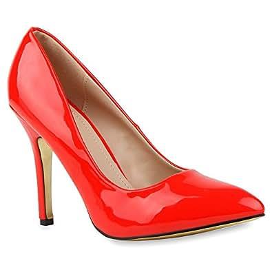 Spitze Damen Pumps Lack Stilettos Elegante High Heels Schuhe 104634 Rot Lack Autol 35 | Flandell®