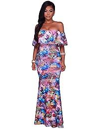 Nuevo colorido estampado Floral Off hombro Maxi vestido largo de Boho verano fiesta Club Casual Wear