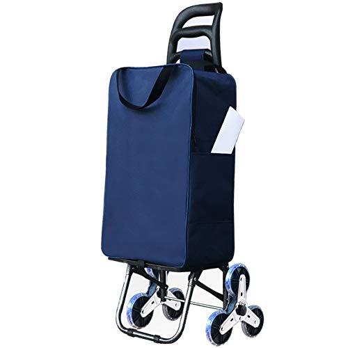 FOTEE Einkaufstrolley mit Kühlfach, Leichtgewicht Einkaufswagen regenfeste Tasche Handwagen 3-Rad-Mechanik klappbar Einkaufsroller 30 l Kapazität,Blue_96x43x36cm