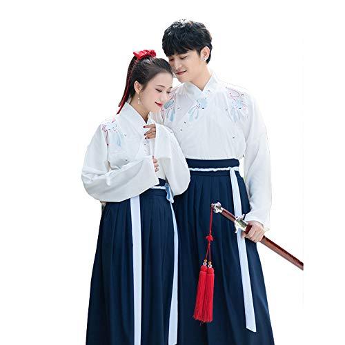 Chinesische Kostüm Tanz Traditionelle - YCWY Alte Hanfu-chinesische traditionelle Cosplay-Tanz-Kostüme des Paares,Blue,XL