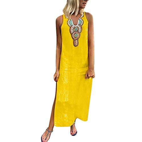 Overdose Damen Freizeit Kleider Leinenkleider 1/2 Ärmel Rundhals Einfarbig Casual Urlaub Sommerkleider Strandkleid Midi Dress Frauen kostüme übergröße (EU 40/CN L, Y-Gelb)