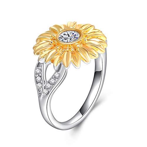ifarbiger Sonnenblumenring, unendlicher Zirkon-Edelstahlring Mädchen Silber Titan-Stahl Nicht-allergischer Ring, 6 ()