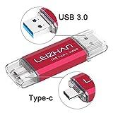 LEIZHAN Clé USB Type C 256 Go USB 3.0 OTG Flash Drive USB pour Huawei Samsung Smartphone Android de Type C-Rouge
