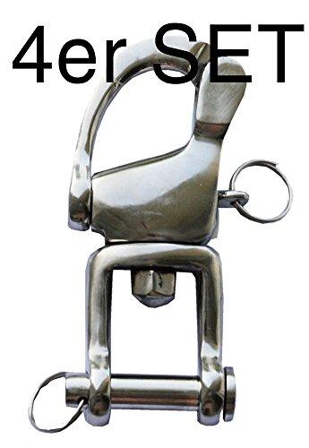 Reitsport Amesbichler AMKA Patenthaken 90 mm 4er Set Marathon Haken für Kutsche Schlitten usw. Patent Schnellverschluss Driving Harness Hooks