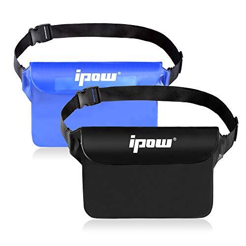 ipow 2 Pack Wasserdichte Tasche Beutel Hülle Unterwassertasche Bauchtasche vollkommen für iPhone, Handy, Kamera, iPad, Bargeld, Dokumente vor Wasser schützen (schwarz+ lichtdurchlässige blau)