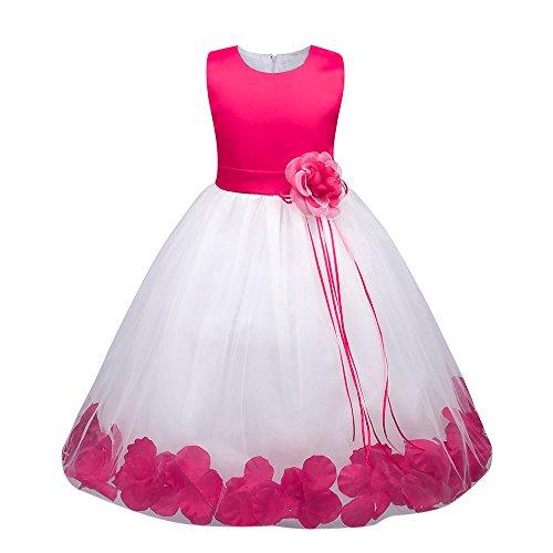 Weihnachten Kleinkind Baby Mädchen Geburtstag Prinzessin Kleid Blumenmaedchenkleid Blumen Formal Hochzeit Party Kleider Brautjungfer Pageant Outfits Kleidung Lonshell (4T / 120, Rosa 2) (Kleinkind Kostüme Ideen)