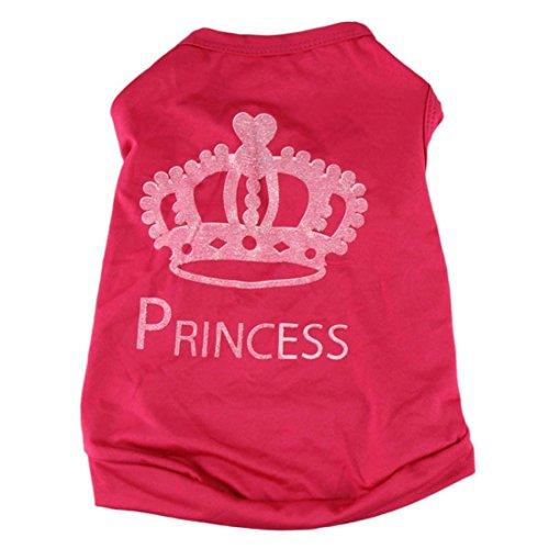 Shirt T Katze Kostüm - Haustierkleidung,Haustier Hund Katze Niedliche Prinzessin T-Shirt Kleidung Weste Mantel Kostüm von Sannysis (Rosa rot, XS)