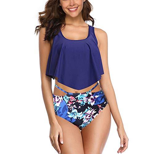 WHCREAT Damen Swimwear Bikini Set Schultergurte Gepolsterte Tankini Floral Rüschen Zweiteilige Strandbadeanzüge (Blau XXL) Rüschen Brust