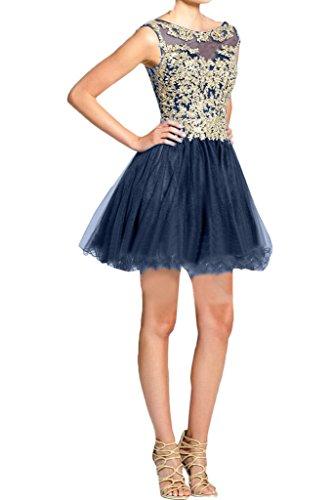 Ivydressing Damen Applikation Rundkragen Rueckenfrei Mini Partykleid Promkleid Festkleid Abendkleid Dunkelblau