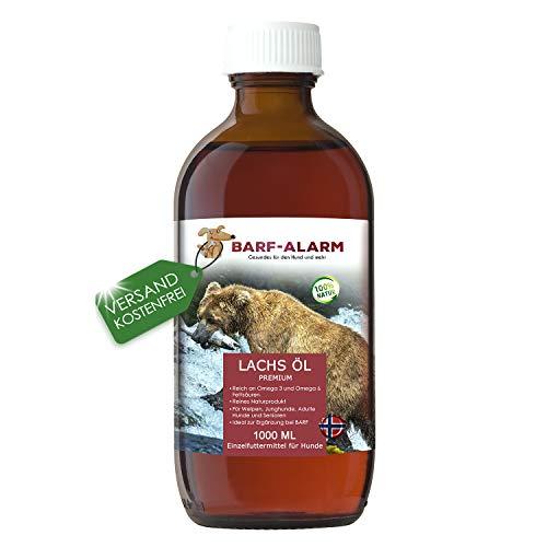 Premium Lachsöl für Hunde mit Omega 3 und Omega 6 Fettsäuren 1 Liter – Fischöl für den Hund 1000ml – Barf Lachs für Welpen Adulte Senioren & Sporthunde
