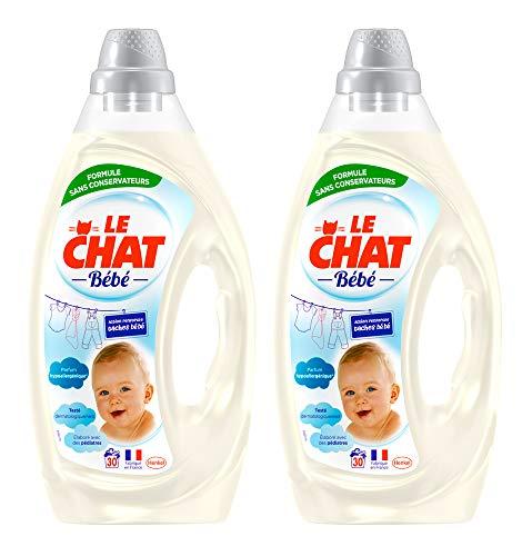 Le Chat Bébé - Lessive Liquide Hypoallergénique -  60 Lavages (Lot de 2 x 1,6L)
