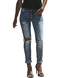 8f0314119ab60 junkai Pantalón De Mujer Vintage Cintura Alta Rodilla Mezclilla Pitillo  Apenado Rasgado Pantalones Vaqueros