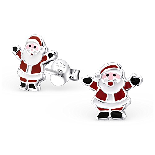 Monkimau 925 Silber Weihnachts-mann Ohrringe Weihnachten Kinder-Schmuck Kinder-Ohrstecker Damen Frauen Mädchen-Ohrstecker Xmas Deko Mitbringsel (Von Männer Mäusen)