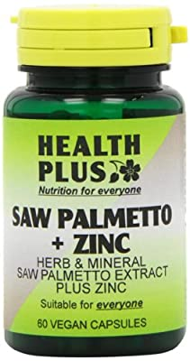 Health Plus Saw Palmetto + Zinc Men's Health Plant Supplement - 60 Gelatin Free Capsules from Health + Plus Ltd