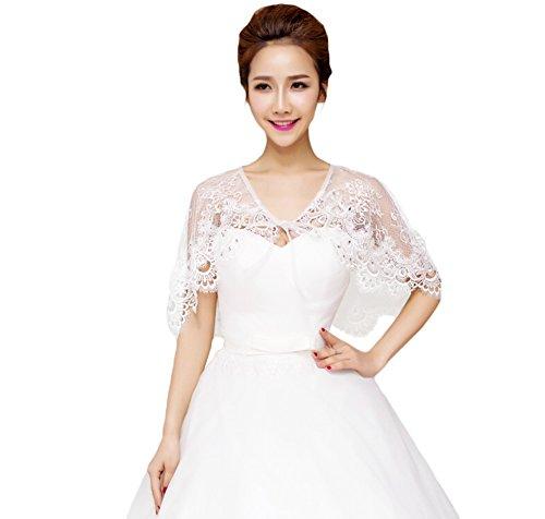 JUNGEN Hochzeit Schal Braut Jacke Damen Bolero Tuch für die Elfenbein Weiß elastischer Tüll, Weiß