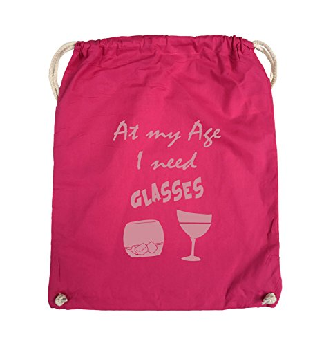 Comedy Bags - At my Age I need GLASSES - Turnbeutel - 37x46cm - Farbe: Schwarz / Silber Pink / Rosa