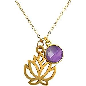 Gemshine Handmade - Halskette - Anhänger - Vergoldet - Yoga - Lotus Blume - Amethyst - Violett - 45 cm