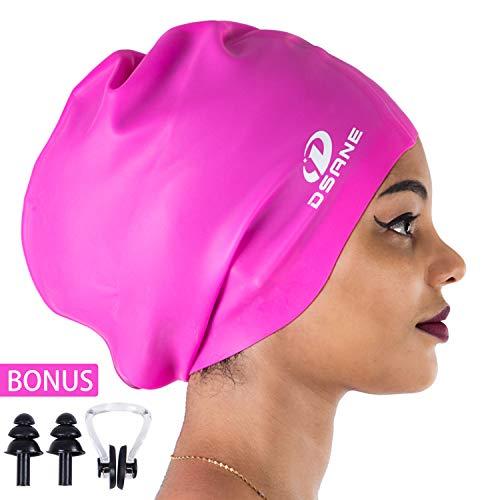 Dsane Extra große Schwimm-/Duschhaube für Damen und Herren, spezielles Design, Badekappe für langes, Dickes, lockiges Haar und Dreadlocks, geflochten, Afro-Silikon, hält Ihr Haar trocken, Rose (Speedo Silikon Swim Cap Frauen)