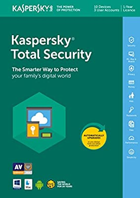Kaspersky Total Security 2019 | 10 Devices | 1 Year | PC/Mac/Android | Download