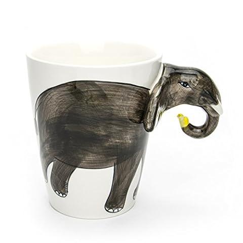 Hausmann & Söhne Tasse groß, weiß, lustig mit Tier Motiv