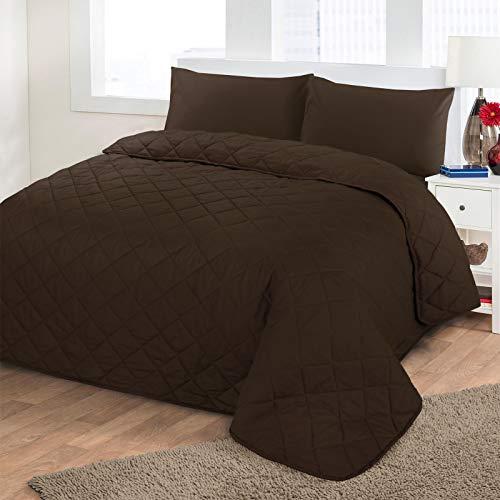 Nimsay Home - Schlicht gefärbte Poly-Baumwolle - pflegeleichte, gesteppte Tagesdecke Modern New Vintage Volltonfarbe Wendbare Patchworkdecke Tröster, Schokolade - Doppel 200 x 200 -
