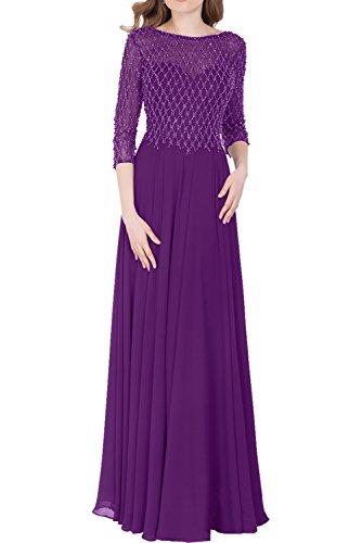 Victory Bridal 2017 Neu Langarm Pailletten Abendkleider Brautmutterkleider Festlichkleider Formalkleider lang Violett