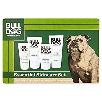 BullDog Original esencial para el cuidado de la piel grande Tin Set de regalo: Loción Para Después Del Afeitado Bálsamo 75ml, crema hidratante de Cara lavar 150ml, 100ml y afeitado Gel 175ml (precio: 22,71€)