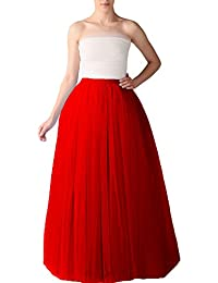 Bridal_Mall Mujer Longitud de la falda de tul suave y esponjosa Maxi enaguas de la enagua de tul completa